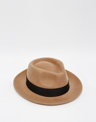Asos Pork Pie Hat In Camel Felt With Wide Brim