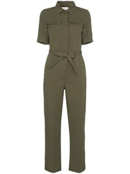 Frame Belted Cotton And Linen Jumpsuit Green
