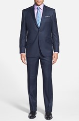 Ted Baker Men's Big And Tall London Jones Trim Fit Solid Wool Suit Blue