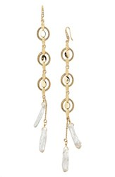 Badgley Mischka Women's Katie Freshwater Pearl Linear Drop Earrings Gold