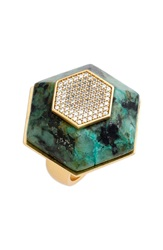 Rachel Zoe 'Ali' Stone And Crystal Hexagon Ring Gold Black