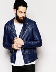 Religion Leather Biker Jacket Bluenavy