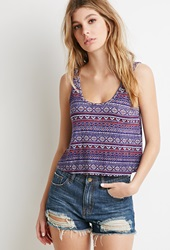 Forever 21 Tribal Print Boxy Tank Royal Multi