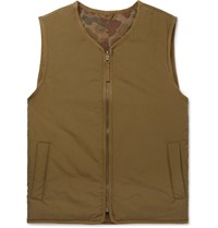 Alex Mill Reversible Padded Camouflage Print Nylon And Cotton Gilet Green