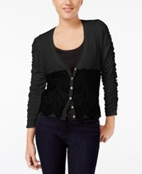 Xoxo Juniors' Ruched Sleeve Lace Cardigan Black