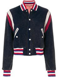 Gucci Tiger Patch Varsity Jacket Cotton Polyester Blue