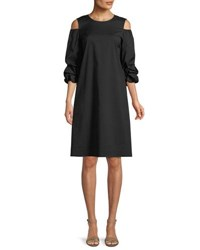 Lafayette 148 New York Willa Stretch Cotton Ruffled Sleeve Dress Black