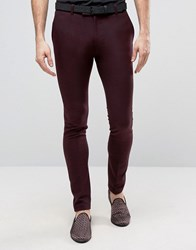 Asos Super Skinny Wool Feel Heritage Smart Trousers In Burgundy Burgundy Red