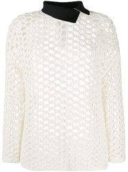 3.1 Phillip Lim Open Knit Contrasting Collar Jumper 60