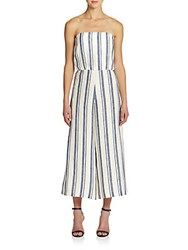 Alice Olivia Lucie Striped Linen Jumpsuit White Blue