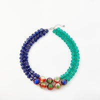 One Button Marble Ball Beaded Necklace Multi
