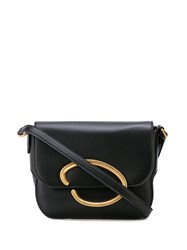 Oscar De La Renta Logo Plaque Shoulder Bag Black