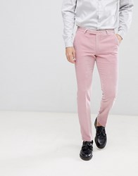 Noose And Monkey Super Skinny Suit Trousers In Pink Velvet