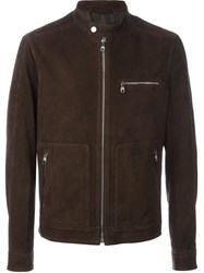 Salvatore Ferragamo Zipped Leather Jacket Brown