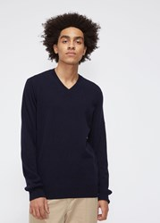 Comme Des Garcons Small Red Heart Sleeve V Neck Pullover Navy