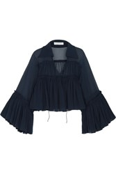Chloe Ruffled Silk Mousseline Blouse Navy