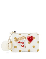 Bow And Drape Heart Pizza Embellished Dotted Mini Pouch Gold