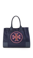 Tory Burch Ella Beaded Logo Tote Tory Navy