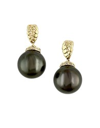 Effy 10Mm Tahitian Pearl Pave Diamond And 14K Yellow Gold Drop Earrings Black Pearl Gold