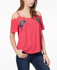 Amy Byer Bcx Juniors' Embroidered Off The Shoulder Top Hot Pink