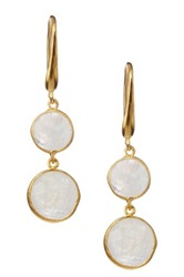 Candela 18K Gold Plated Sterling Silver Rainbow Moonstone Coin Dangle Earrings