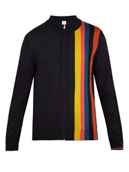 Paul Smith High Neck Striped Zip Though Wool Sweater Navy Multi