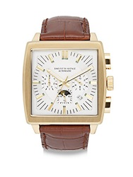 Saks Fifth Avenue Goldtone Finished Stainless Steel Automatic Chronograph Strap Watch Brown Gold
