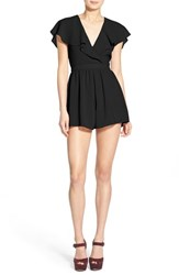 Women's Astr Flutter Cape Romper Black