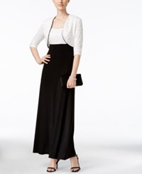 R And M Richards Sequined Lace Gown Bolero Jacket White Black
