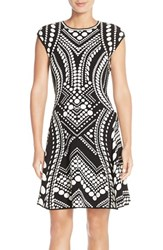 Women's Adrianna Papell Intarsia Fit And Flare Sweater Dress