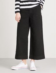 Chocoolate Flared Mid Rise Cotton Suedette Trousers Black