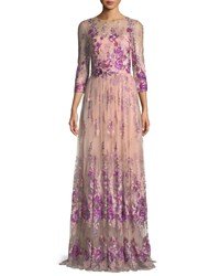 David Meister Floral Embroidered Gown W Beaded Waist Pink