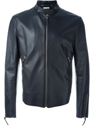 Paul Smith Zip Front Leather Jacket Black