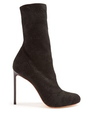 Francesco Russo Eyelet Knit Sock Ankle Boots Black
