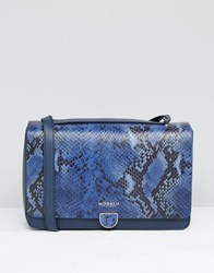 Modalu Leather Shoulder Bag In Faux Snake Mix Ink Navy Snake Mix