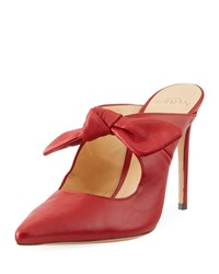 Alexandre Birman High Heel Leather Point Toe Bow Mules Red