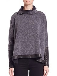 Generation Love Lucas Oversized Fleece Turtleneck Sweater Charcoal