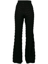 M Missoni Flared Trousers Polyester Viscose Wool Black