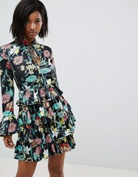 Club L High Neck Floral Dress With Tiered Frill Detail Black Yellow Print
