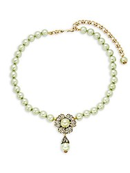 Heidi Daus Faux Pearl Crystal Flower Necklace Green