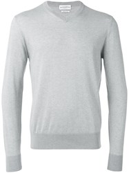 Ballantyne V Neck Jumper Grey