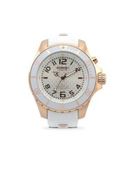 Kyboe Power Rose Goldtone Stainless Steel And White Silicone Strap Watch 48Mm