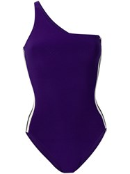 Norma Kamali Side Stripe One Shoulder Swimsuit Purple