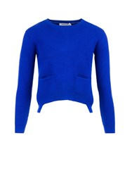 Morgan Front Pocket Ribbed Knit Jumper Blue