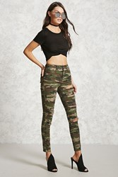 Forever 21 Distressed Camo Pants Olive Brown