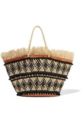 Sensi Studio Frayed Embellished Woven Toquilla Straw Tote Cream