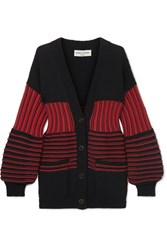 Sonia Rykiel Paneled Striped Cotton Blend Ribbed Knit Cardigan Red