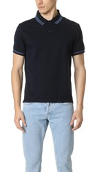 Club Monaco Color Block Trim Polo Shirt Navy Multi