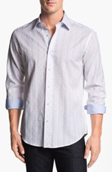Bugatchi Striped Polka Dot Shaped Fit Cotton Sport Shirt