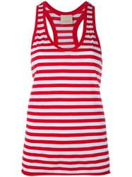 Laneus Striped Scoop Neck Vest Top Red